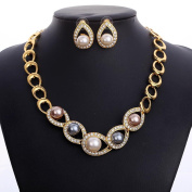 HongHu Elegant Beads Simulated Pearl Necklace Female Accessories Costume Fashion Jewellery Sets For Party