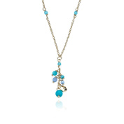 """Little Miss Twin Stars """"Cat-Eyed Bead"""" 14k Gold-Plated Necklace with Dangling Flower and Blue Cat-Eye Beads"""