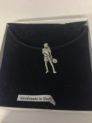 Tennis Player PP-SP03 English Pewter on a Black Cord Necklace Handmade 41CM