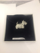 Scottie PP-D04 Dog English Pewter on a Black Cord Necklace Handmade 41CM
