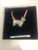 Westie PP-D03 Dog English Pewter on a Pink Cord Necklace Handmade 41CM