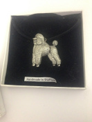 Poodle PP-D18 Dog English Pewter on a Black Cord Necklace Handmade 41CM