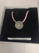 King John Penny WE-KJPCOIN English Pewter on a Pink Cord Necklace Handmade 41CM