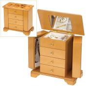 "Light Oak Wood Finish ""Champagne Rose"" Design Wardrobe Style Wooden Jewellery Box by Mele & Co."
