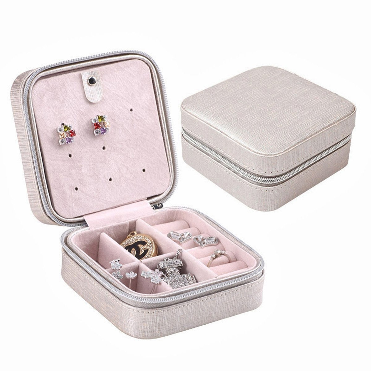 Joyooo Cream Faux Leather Portable Travel Jewellery Box Case For Earring Ring Necklace Etc Black