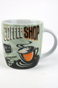 Retro Coffee Shop Design Mug, Classic Vintage Tea or Coffee Cup