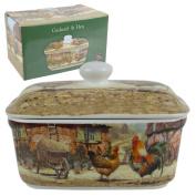 Classic Cockerel & Hen Butter Dish by Leonardo Farming Handy Kitchen GIFT Boxed