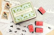 DIY Mountain Bird Stamps Rubber Stamps wooden stamp craft stamp wooden seal paper stamp inks pad - Tin Box Stamp Set