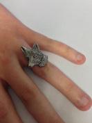 A6 Fox Head English Pewter Ladies Ring, Adjustable Handmade in Sheffield