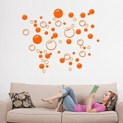 86 Bubbles Bathroom Window Wall Art Decoration DIY Sticker DIY Decals Removable Living Room Bedroom Bathroom Wall Decal Stickers-Orange