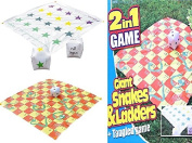 GARDEN GIANT 2 IN 1 SNAKES AND LADDERS / TANGLED TWISTER OUTDOOR GAME SUMMER