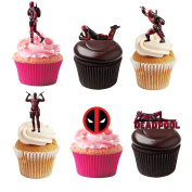 21 Stand Up Marvel Deadpool Themed Premium Edible Wafer Paper Cake Toppers