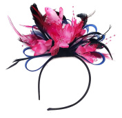 Navy Blue and Hot Pink Royal Blue Feather Hair Fascinator Headband Wedding and Royal Ascot Races Ladies
