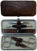 Tenartis 328 5-Piece Brown Croco Genuine Leather Manicure Set - Made in Italy
