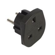 Ex-Pro® Travel Adapter Converts UK Plugs Plug to 2 pin (Round) Converts - EU Europe European UK To EU, France, Germany, Spain, Schuko Europe 2 Pin [BLACK]