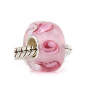 Pink Glass Charm Bead - .925 Sterling Silver Core