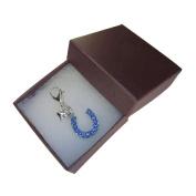 Handmade Wedding Gift for the Bride - Something Blue - Mini Blue Crystal Horseshoe Clip on Charm - Gift Boxed