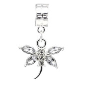 Truly Charming® Silver Clear Dragonfly Charm Bead Will Fit Pandora Troll Chamilia Style Bracelets
