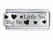 Superlink Little Sis & Big Sis Hearts Sister Italian Charm Fits Nomination Classic