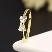 HuaYang 2015 Fashion Jewellery Gold Plated Finger Bow Ring Zircon Crystal Engagement Ring
