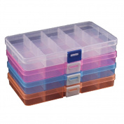 Duofire® 4 Packs(4 Colours) Plastic Storage Box(15 Compartments) Jewellery Earring Tool Containers