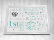 Personalised 1st Wedding Anniversary Gift - Picture Print UNFRAMED