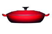 Master Class Shallow Cast Iron Casserole Dish with Lid, 3.5 Litres - Red