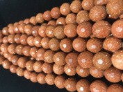 AfricaGemsUSA- Exclusive (2.5mm Large Hole) Gold Stone (Sand Stone) 12mm Faceted Round Beads