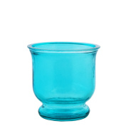 Grehom Recycled Glass Hurricane Lamp (9 cm) - Blue; Delivered with a tealight