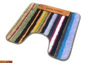 Bene Domo Large 100% Acrylic Non Slip Pedestal Toilet Mat Striped Multicoloured 55 x 60cm