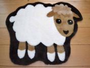 Sheep Non Slip Machine Washable Sheepskin Style Kids Rug. Size 68cm x 88cm
