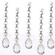 ColorMax 5 Pieces Diamond Hanging Crystal Garland Wedding Strand with 6 Beads and Prism Pendant Accent made with Magnificent Crystal