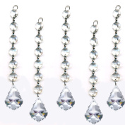 ColorMax 5 Pieces Diamond Hanging Crystal Garland Wedding Strand with 6 Beads and 1.5 Pendalogue Prism Pendant Accent Made with Magnificent Crystal