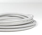 PREMIUM ITALIAN VINTAGE FABRIC FLEX LIGHTING CABLE 3 CORE | Metallic Silver