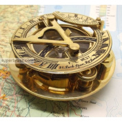 Fascinating Solid Brass Sundial Clock with Inset Compass & Engraved Vane. 7.6cm