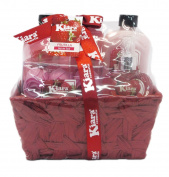 Peony Bath Gift Set in a Wire Tray - Shower Gel, Bubble Bath, Bath Salts, Sisal Pull Strap