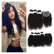 Etino Brazilian Curly Virgin Hair with Closure Unprocessed Brazilian Curly Virgin Human Hair Weave 3 Bundles with Lace Closure 4x 4 Lace Top Closure