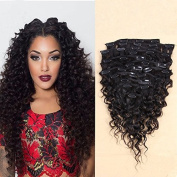 LUFFY Clip In Human Hair Extensions Deep Curly Malaysian Virgin Human Hair Extensions Clips Ins 8pcs/set 80g Natural Colour 36cm