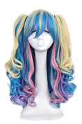 Yuehong Sweet Candy Mixed Colour Lolita Wig Cosplay 2 Ponytails Wig