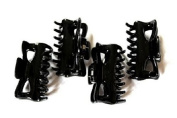 Set Of 4 Black Small Hair Claw Clip Butterfly Design Bull Dog Hair Clip