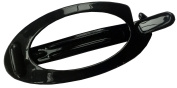 Parcelona French Plain Oval Small Black No Metal Hair Clip Barrette