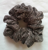 Black and Silver Sparkly Hair Scrunchies-Full