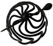 Parcelona French Swirls Black Large Celluloid Chignon Hair Bun Cover - 8.9cm Diameter