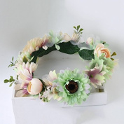 Vintage Flower Wreath Forehead Hair Head Band with Fruit Bride Hairband Wedding Party Prom Festival Beach Wreath