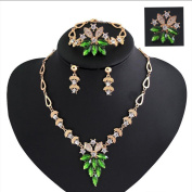 iEFiEL Women Wedding Emerald Green Necklace Earrings Ring Bracelet Costume Jewellery Set