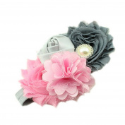 Baby Girl's Beautiful Headbands with Flower Pearl Ribbon Princess Hairband