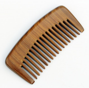 Hair & Beard Comb - Green Sandalwood No Static Handmade Comb, Pocket comb - Wide Tooth