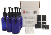(6) 4 Ounce 4 oz Empty Cobalt Blue Glass Bottles W/black Lotion Pump Tops (6) 3ml Pipettes (6) Chalk Labels for Oils, Cleaning Products, Aromatherpy, Shampoo, Lotions, Soaps, etc.