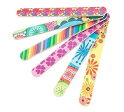 Set of 10 Colourful Floral Print Nail Files Double Sided Durable Nail Art Manicure Pedicure Emery Board Manicure Sticks Random Colour