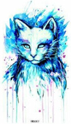 Grashine long last temporary tattoos Blue cat look like real temporary tattoo stickers